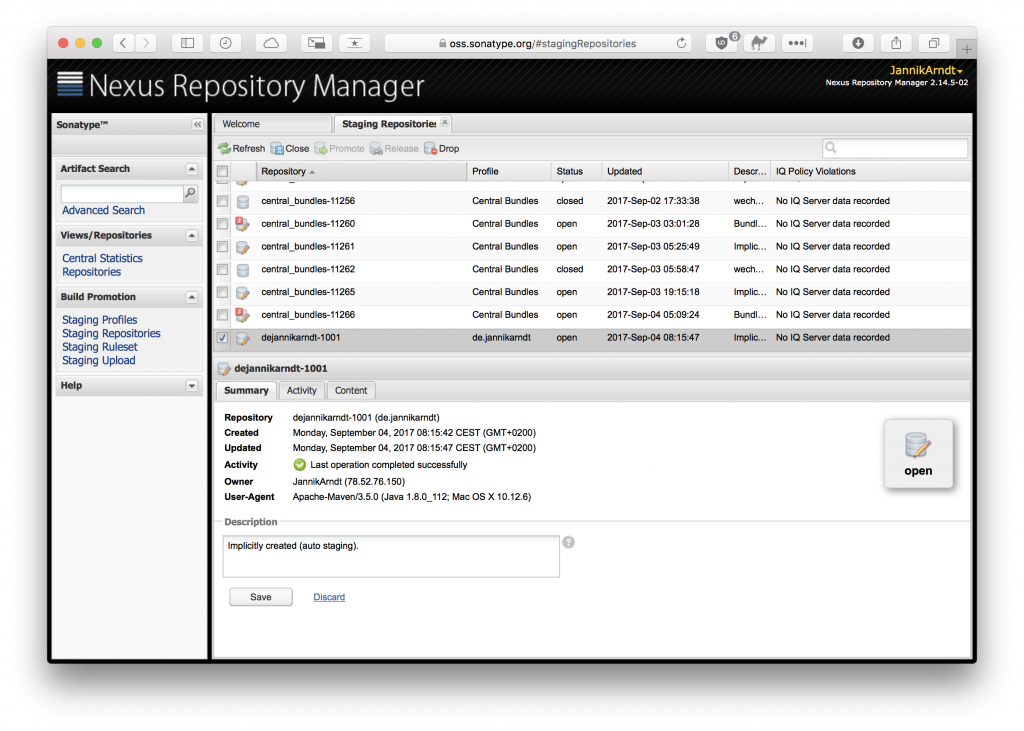 Staging Repositories in Nexus Manager