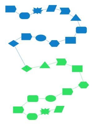 Beim Geo Shapes Games müssen Ketten aus zwölf verschiedenen Formen in einer Farbe erstellt werden.